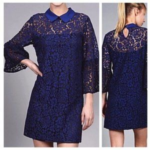 Boutique French Lace Navy Blue Collar Shift Dress